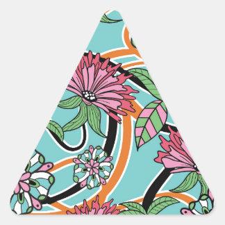 estampado de flores feliz del verano pegatina triangular