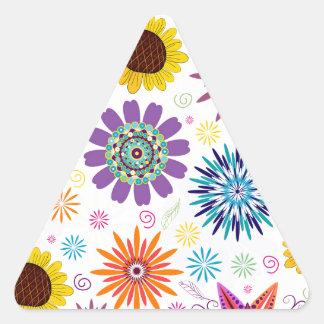 Estampado de flores feliz pegatina triangular