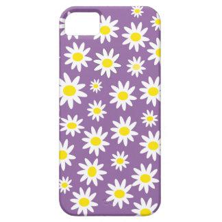 Estampado de flores femenino amarillo púrpura de iPhone 5 funda
