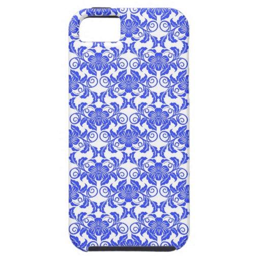 Estampado de flores femenino azul y blanco del iPhone 5 funda