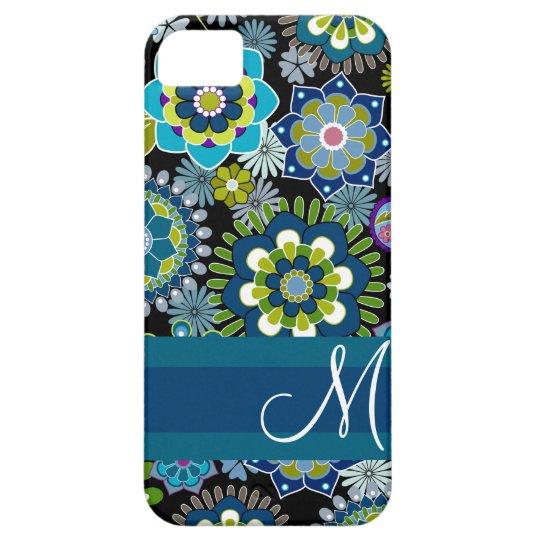 Estampado de flores femenino con el monograma funda para iPhone SE/5/5s