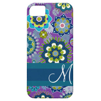 Estampado de flores femenino con el monograma iPhone 5 fundas