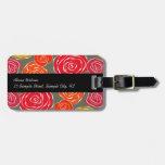 Estampado de flores femenino de los rosas del vint etiqueta de equipaje