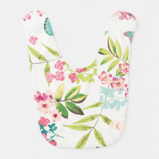 Estampado de flores femenino floral de la mariposa baberos