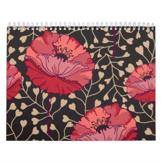 Estampado de flores floral de la amapola roja calendarios