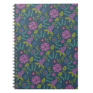 Estampado de flores floral púrpura de la MOD del v Libros De Apuntes