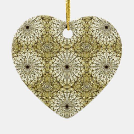 Estampado de flores geométrico adorno navideño de cerámica en forma de corazón