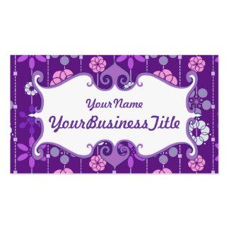 Estampado de flores geométrico púrpura retro lindo tarjetas de visita