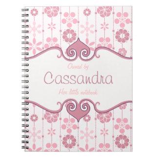 Estampado de flores geométrico retro rosado lindo libros de apuntes con espiral