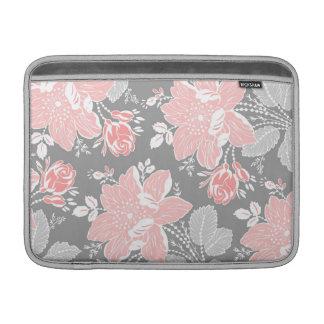 Estampado de flores gris coralino de Macbook Funda MacBook