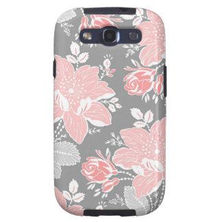 Estampado de flores gris coralino de Samsung Samsung Galaxy S3 Fundas