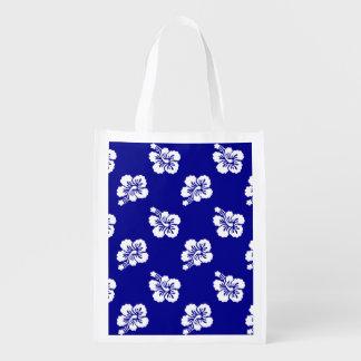 Estampado de flores hawaiano azul marino y blanco bolsas reutilizables