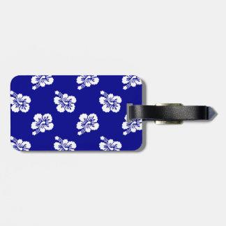 Estampado de flores hawaiano azul marino y blanco etiquetas bolsas