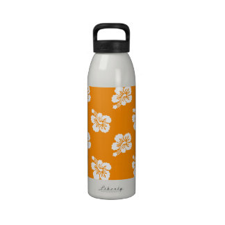 Estampado de flores hawaiano del naranja y blanco botella de agua