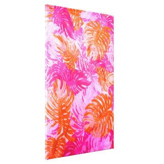 Estampado de flores indio anaranjado del rosa impresiones de lienzo