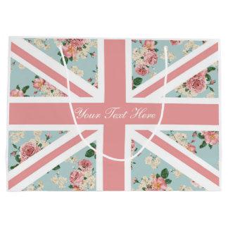Estampado de flores inglés de Union Jack de los Bolsa De Regalo Grande