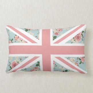 Estampado de flores inglés de Union Jack de los Cojín Lumbar