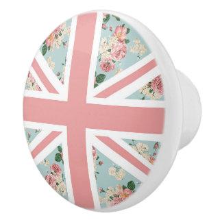 Estampado de flores inglés de Union Jack de los Pomo De Cerámica