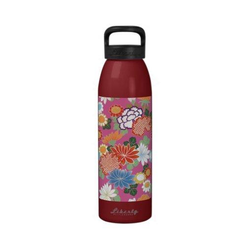 Estampado de flores japonés azul rosado rojo hermo botella de beber