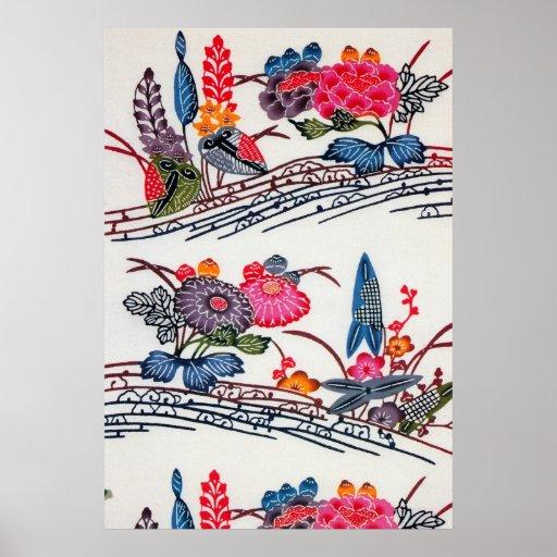 Estampado de flores japonés del KIMONO del vintage Poster