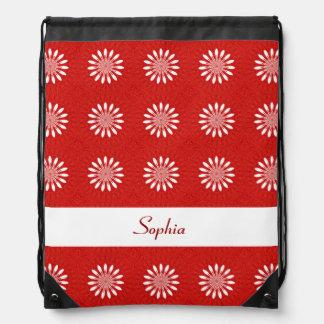 Estampado de flores lindo de la margarita roja y mochilas