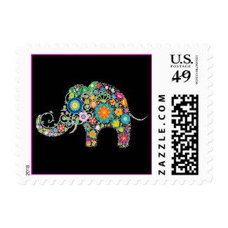 ¡Estampado de flores lindo del elefante - Estampillas