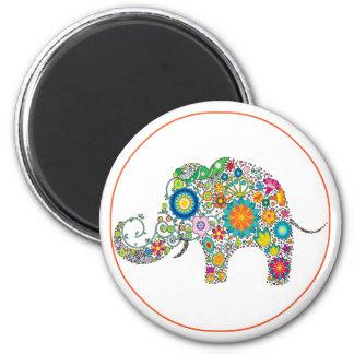 ¡Estampado de flores lindo del elefante - Imán Redondo 5 Cm