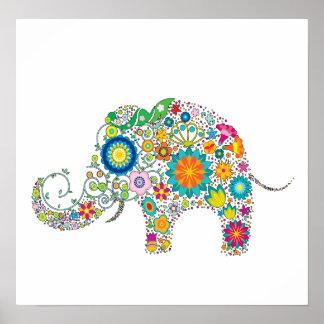 ¡Estampado de flores lindo del elefante - personal Posters