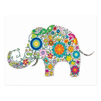 ¡Estampado de flores lindo del elefante - Postal