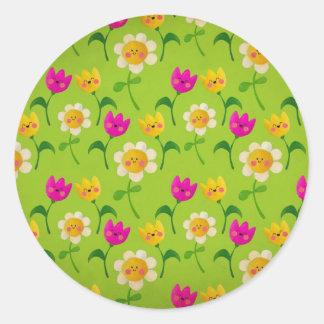 Estampado de flores lindo pegatina redonda