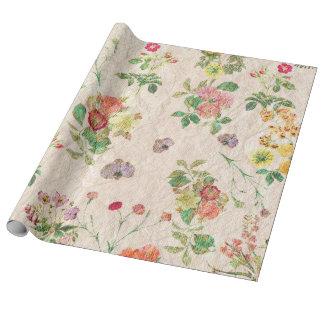 Estampado de flores lindo rosado amarillo elegante papel de regalo
