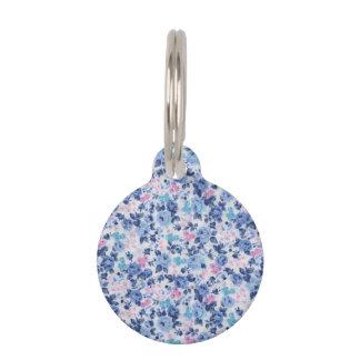 Estampado de flores lindo rosado azul de los rosas placa para mascotas