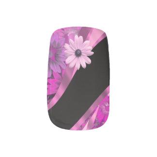 Estampado de flores magenta rosado pegatinas para manicura