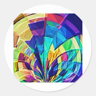 Estampado de flores mágico V1 del arco iris Pegatina Redonda