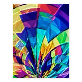 Estampado de flores mágico V1 del arco iris Postales
