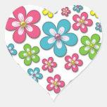Estampado de flores maravilloso retro de las flore pegatinas corazon