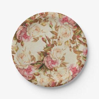 Estampado de flores marrón blanco de los rosas del plato de papel de 7 pulgadas