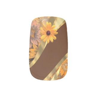 Estampado de flores marrón del otoño pegatina para uñas