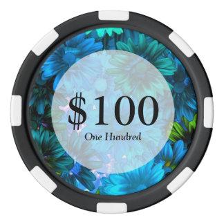 Estampado de flores moderno azul claro juego de fichas de póquer