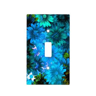 Estampado de flores moderno azul claro tapas para interruptores