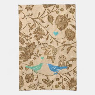 Estampado de flores moderno de los pájaros del toalla de cocina