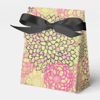 Estampado de flores moderno del rosa y del verde cajas para detalles de boda