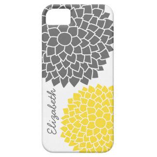 Estampado de flores moderno - gris y amarillo iPhone 5 Case-Mate cobertura