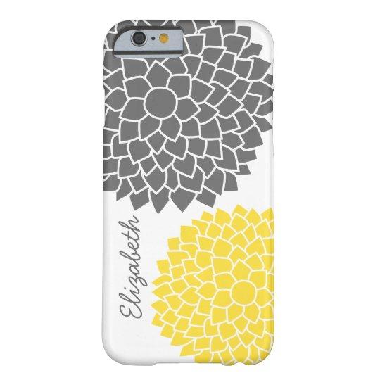 Estampado de flores moderno - gris y amarillo funda barely there iPhone 6