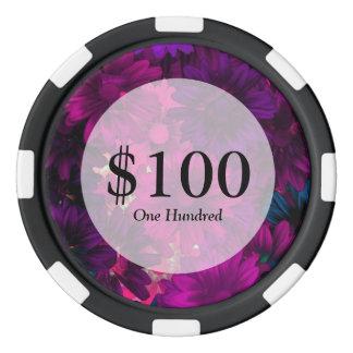 Estampado de flores moderno magenta púrpura fichas de póquer
