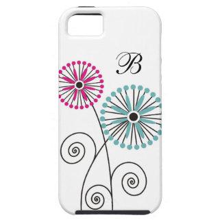 Estampado de flores moderno - monograma de encargo iPhone 5 Case-Mate cárcasa
