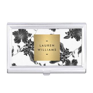 Estampado de flores negro elegante 4 con el caja de tarjetas de visita