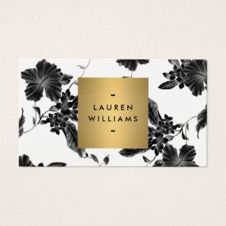 Estampado de flores negro elegante 4 con el tarjetas de visita