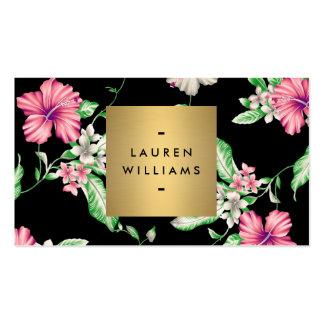 Estampado de flores negro elegante 5 con el tarjetas de visita