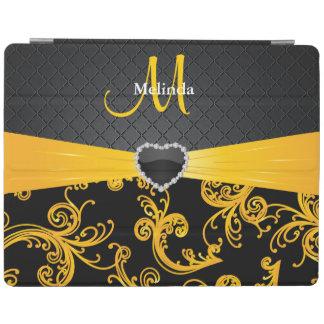 Estampado de flores negro y amarillo elegante cubierta de iPad